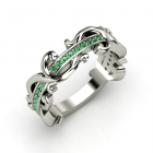 Atlantis Eternity Band 18K White Gold Ring with Emerald