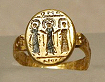 Byzantine gold wedding ring, depicting Christ uniting the bride and groom, circa 7th century, Musee du Louvre