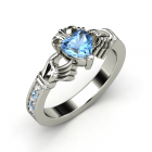 Claddagh Ring Heart Blue Topaz 14K White Gold Ring with White Sapphire & Blue Topaz
