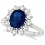 Diana Ring - Blue Sapphire and Diamond Ring Inspired by the Engagement Ring of Princess Diana and Kate Middleton