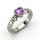My Heart Beats for You Ring Heart Amethyst Palladium Ring