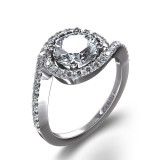 Pave Swirl 7/8 ctw Diamond Ring