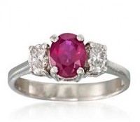 C. 1990 Vintage 1.60ct Ruby, .60ct t.w. Diamond 3-Stone Ring. Size 8