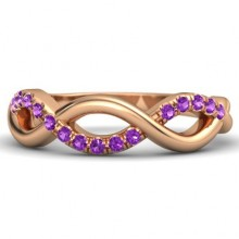 Rings with Love - Gemstones - Amethyst - Infinity Twist Band - 14k Rose Gold with Amethyst