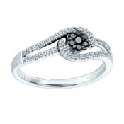 Black and white diamond flower cluster - promise rings - rings with love