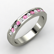 Palladium ring with pink and white sapphires - promise rings