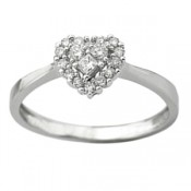 Princess and Round Cut Diamond Heart - promise rings - rings with love