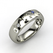 Written in the stars ring with round sapphire in sterling silver