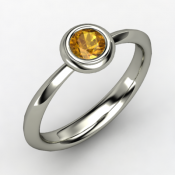 bezel ring round citrine