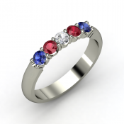 quintessence white sapphire and ruby ring