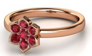 Modern flower ring - ruby and diamonds set in rose gold