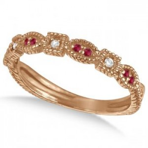 Vintage stacking ring - diamond and ruby ring