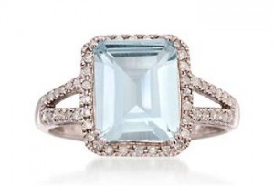 2.95 Carat Aquamarine and .95 ct. t.w. Diamond Ring in Sterling Silver