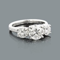 3 Stone Diamond Engagement Ring 2.50 ct