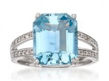5.50 Carat Aquamarine and .15 ct. t.w. Diamond Ring in 14kt White Gold