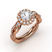 Lucinda Ring Round White Sapphire 14K Rose Gold Ring with Diamond