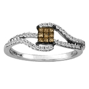 White and Chocolate Diamond Ring