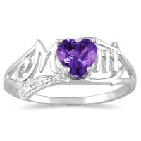 Amethyst and Diamond Mom's Ring