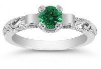 Art Deco Emerald Engagemenrt Ring