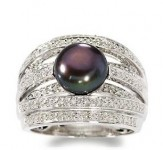 9mm Black Pearl, .20ct t.w. Diamond Multi-Row Ring in Silver