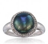 9.5-10mm Black Pearl and .10 ct. t.w. Diamond Ring in 14kt White Gold