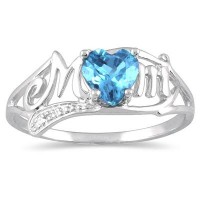 Blue topaz and Diamond Heart Shaped Mom's Ring