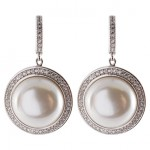 Crislu Silver Pave CZ Round Freshwater Pearl Drop Earrings