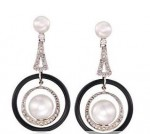 Cultured Pearl, Diamond and Balck Onyx Earrings