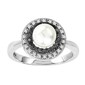 Cultured Pearl and Black and White Diamond Ring