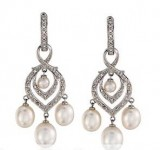 Diamomnd Hoop Earrings with Removable Pearl and and Diamond Dangle