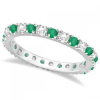 Diamond and Emerald Eternity Stackable Ring