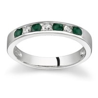 Emerald and Diamond Stackable Channel Ring $489