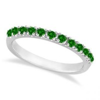 Emerald semi-eternity band stackable ring