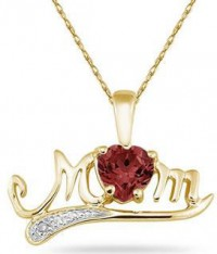 Gold, Garnet and Diamond MoM Pendant