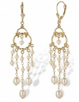 Gold Pearl Chandelier Earrings