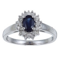 Overstock - princess Diana ring - white gold, sapphire, diamond