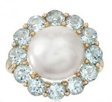 Pearl and Aquamarine Flower Ring