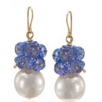 Pearl and Tanzanite Drop Earings