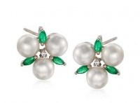 Pearl and emerald earrings with CZ