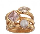 Set of Three Pearl, 1.70ct t.w. Multi-Gemstone Rings in 18kt Over Sterling