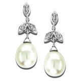 White Goild, Freshwater Pearl and Diamond Dangle Earrings