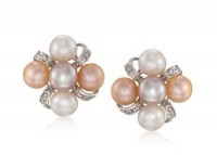 White, peach and pink earrings