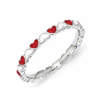 Alternating White and Red Enamel Eternity Heart Stack Ring in Sterling Silver