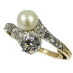 Rings with Love= Antique Victorian Pearl and Diamond Ring -ADIN BE