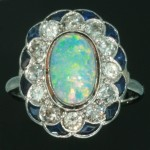 Rings with Love - Edwardian Opal, Diamond and Sapphire Platinum Engagement Ring - ADIN BE