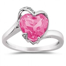 Heart Shaped Pink Topaz and Diamond Promise Ring