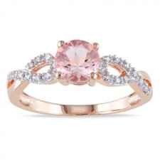 Rings with love - 10k Rose Gold Morganite and Diamond Ring