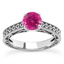 Rings with Love - Pink Sapphire Engraved Hearts Promise Ring