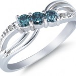 rings with love - promise rings - Blue diamond ring