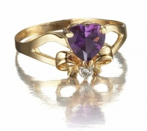 Rings with Love - gemstones - amethyst - Heart and Bow amethyst ring